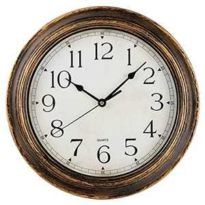 Wall Clock- Vintage Retro Rustic Round Style 12 Inch Wall Clocks, Battery Operated Non Ticking Silent Decorative for Living Room, Kitchen(Gold)