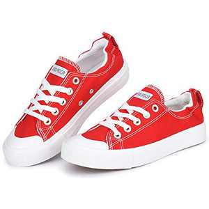 JENN ARDOR Canvas Sneaker Slip Ons Shoes for Women Fall Low Tops Casual Shoes Classic Walking Shoes Comfortable Back-to-School Gifts Red