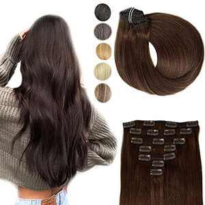 Clip in Hair Extensions Human Hair No Shedding No Tangling Natural Remy Human Hair Dark Brown Natural Hair Extensions Clip 14 Inch 120grams 7pcs Silky Straight Human Hair Clip Silky 100% Human Hair