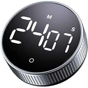 Kitchen Cooking Timer Magnetic Countdown Timer Large LED Digital Timer Visual Silent Timer for Kids Classroom Homework Loud Alarm Reminder for Adult Baking Steaming Barbecue Fitness Silver