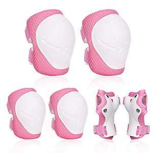 KOROTUS COLLECTION 6 Pc Skateboard Protective Gear Set With Wrist Guard,Knee Pads,Elbow Pads and Adjustable Strap,Small Size Suitable for Kids Toddler 3-9 (Pink)