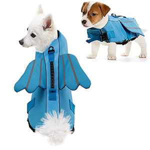 ROZKITCH Dog Life Jacket, Blue Ripstop Pet Floatation Angel Life Vest for Small Middle Large Dog, Safe Durable Comfortable Adjustable Preserver with High Buoyancy for Swimming Boating at Pool Beach