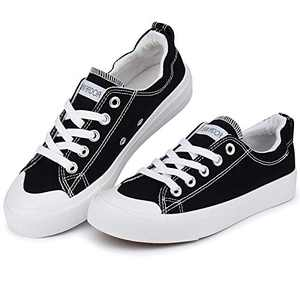 JENN ARDOR Canvas Sneaker Slip Ons Shoes for Women Fall Low Tops Casual Sneaker Classic Walking Shoes Comfortable Hollywood Party Gifts Black