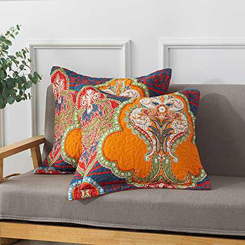NEWLAKE European Boho Floral Style Cotton Throw Pillow Covers (2 Pieces, 18X18 Inch)