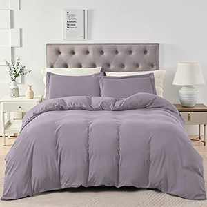 BEDELITE Twin/Twin XL Duvet Cover Set Grayish Purple - Soft Comfortable Washed Cotton Like Bedding Duvet Covers,Hotel Collection Comforter Cover with Zipper (Wrinkle Free,Lightweight,Breathable)
