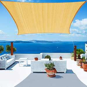 YUFOL Sun Shade Sail 10' x 13' Rectangle UV Block Canopy for Outdoor Patio Garden Backyard, Yellow