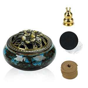 Charcoal Censer Burner, Ceramic Incense Burner with Brass Calabash Incense Stick Holder and Metallic Cover for Sticks Cones or Coils Incense Orcelain