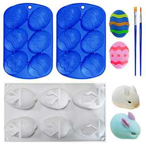 Chocolate Molds, 3Pieces Silicone Molds for Chocolate 6 Cavity Non-stick Easter Egg Mold Tray Rabbit Bunny Cake Baking DIY Candy molds with 2 Pieces Brushes