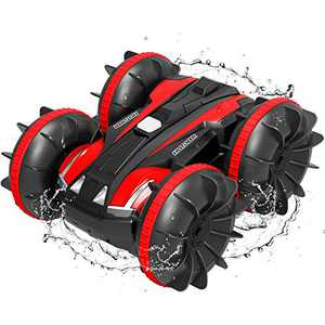 Remote Control Car Toys for Boys - 2.4GHz Amphibious 4WD Stunt RC Cars Boat Truck for Kids Adults, Red