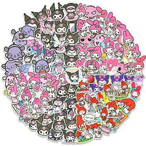 100pcs Kuromi Stickers Pack, My Melody Stickers for Laptop Water Bottle Skateboard Cars, Bumper, Cute Pink Sticker Decals for Adults Teens Kids Girls