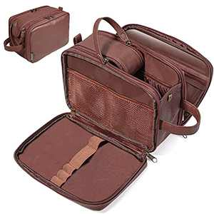 BALEINE Toiletry Bag for Men, Large Travel Toiletries Bags with Water-Resistance Compartment, PU Leather Dopp Kit (Medium, Brown)