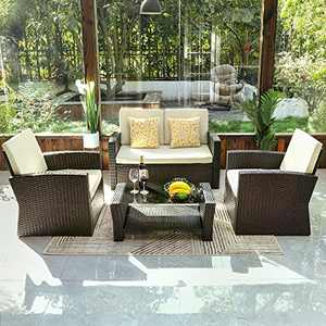 YITAHOME 4 Pieces Outdoor Furniture Sofa Set, PE Rattan Wicker Sectional Furniture Conversation Set with Cushions and Table for Porch Lawn Garden, Brown
