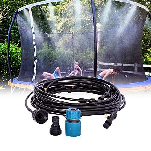 CCICITA 39.3Ft Trampoline Sprinkler, with 16 Pcs Brass Mist Nozzle, Outdoor Patio Misting System Garden Watering System, Summer Water Toys Cool Things for Kid, Trampoline Water Sprinkler