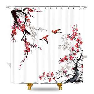 KOMLLEX Cherry Floral Shower Curtain Set for Bathroom 60Wx72H Inches Chinese Japanese Ink Plum Blossom Pink Painting Flower Decor for Girl Spring Birds Vintage Fabric Waterproof 12 Pack Plastic Hooks