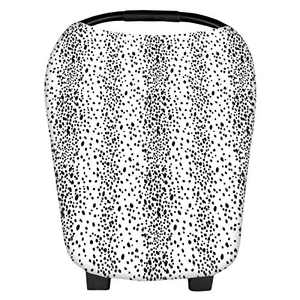 Stretchy Baby Car Seat Covers for Newborns, Infant Car Canopy Extra Soft and Stretchy Nursing Covers for Moms (Black dots)