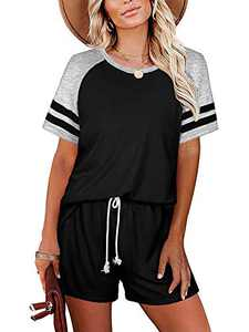 Trendy Queen Women's Pajamas Set Loungewear Short Sleeve Sweatsuits and Drawstring Workout Shorts with Pocket