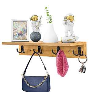 Rustic Wall Mounted Coat Hooks with Shelf, Natural Bamboo Entryway Floating Shelf with Hooks,Wall Shelf with Hooks,Kitchen Bedroom Bathroom Shelf Organizer Towel Rack (Natural Colour)