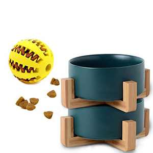 5.1 Inch Deep Green Ceramic Cat Dog Bowl Dishes with Wood Stand for Food and Water, No Spill Pet Food Water Feeder for Cats Small/Medium Dogs Set of 2 Bowls Free One Slow Feeder Ball