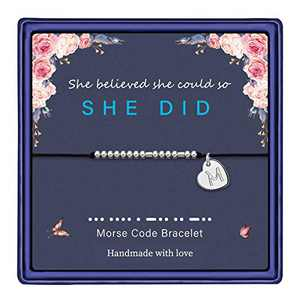 Anoup Morse Code Bracelets for Women, Silver Plated Morse Code Bracelets She Believed She Could So She Did Friend Gift for Women Gifts for Friends Female Friendship Bracelet (M)