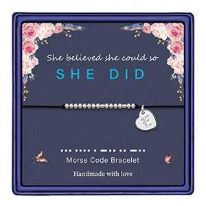 Anoup Morse Code Bracelets for Women Girls, Sliver Plated Morse Code Bracelet for Women Gifts for Friends Female Friend Gifts Bracelet(E)