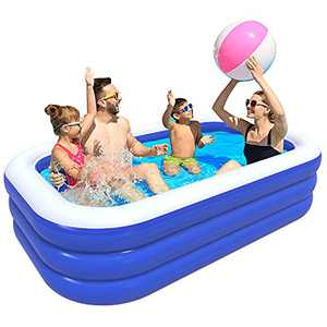 """Inflatable Swimming Pool, WJOY 120"""" × 70"""" × 22"""" Full Sized Above Ground Pool for Baby, Kids, Toddlers & Adults, Extreme Large Inflatable Pool for Age 3+"""