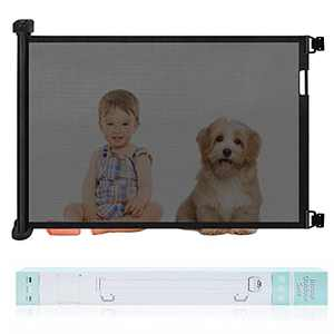 """Retractable Baby Gate, Abaook Mesh Retractable Safety Gate for Stairs, Extra Wide Safety Baby Gate 34"""" Tall, Extends to 54"""" Wide,Dog Gate for doorways, Stairs, Hallways, Indoor/Outdoor (Black)"""