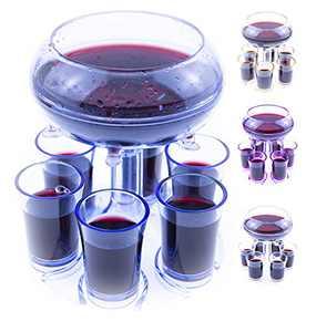 Shot Dispenser With 6 Glasses -Dispenser For Filling Liquids, Shots Dispenser, Multiple 6 Shot Dispenser, Bar Shot Dispenser, Cocktail Dispenser, Dispenser With Slogan(Blue)