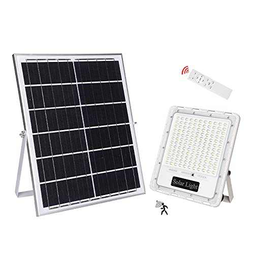 High Lumen Solar Outdoor Lights Dusk to Dawn Motion Sensor Outdoor Long Lasting Solar Flood Lights with Remote Ultra Bright Large White Waterproof for Street Yard Garden