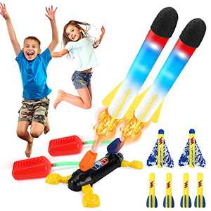 Isheurg Dueling Rocket Launchers for Kids, Sturdy Stomp Launch Toys with 2 LED Foam Rockets, 2 Stunt Planes and 4 Yellow Rockets, Outdoor Jump Rocket Toy for Birthday Gift for Boys and Girls Age 3+