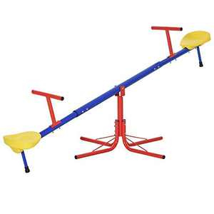 Outsunny Kids 360 Degree Rotating Metal Seesaw Swivel Teeter Totter Children's Playground Equipment for Garden Outdoor Indoor Swing, 2 Seats