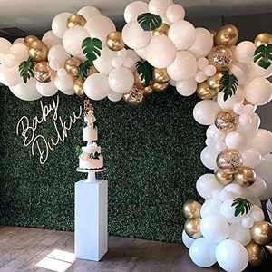 Falliny White Gold Balloons Garland Arch Kit, 100 Pieces Confetti Latex Balloons with Balloon Accessories for Birthday Baby Shower Wedding Graduation Anniversary Party Decorations
