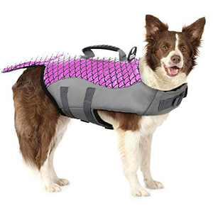 Dog Life Jacket Pet Floatation Vest Life Preserver with Strong Rescue Handle, Dog Pet Lifesaver Water Safety Swimsuit Adjustable for Small Medium and Large Dogs at Pool, Beach, Boating