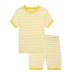 Benaive Pajamas for Boys, Pjs for Boy Cotton Summer Pajama, 2-Piece Children Shorts Set (White & Yellow, 2T)