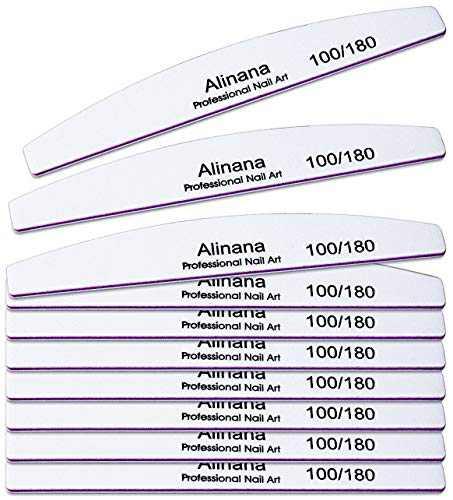 Alinana 10PCS Double Sided Nail Files, 100/180 Grit Nail Files for Acrylic Nails, Nail Files for Natural Nails, Coarse Fingernail Files Washable Manicure Tools for Natural or Acrylic Nails