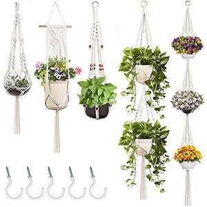 DCLYSI 5 Packs Macrame Plant Hanger with 5 Hooks Indoor Hanging Planters Basket Flower Pot Holder for Indoor Outdoor Home Decor