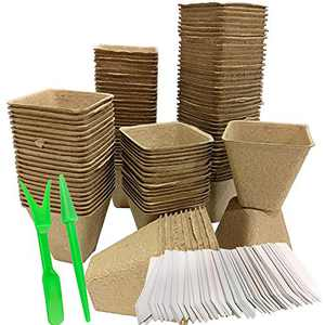 Seed Starter Peat Pots Kit for Garden Seedling Tray 100% Eco-Friendly Organic Germination Seedling Trays Biodegradable 120 Pack| 120 Plastic Plant Markers Included