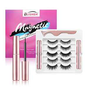BLISHEN Magnetic Eyelashes with Eyeliner Kit,5 Pairs Different Reusable Magnetic Lashes with 2 Tubes Magnetic Eyeliner and Tweezer, False Eyelashes Natural Look No Glue Needed
