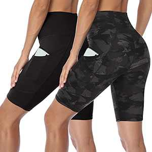 HLTPRO Women's High Waist Biker Shorts with Pockets - 2 Pack Tummy Control Athletic Shorts for Workout, Yoga, Running