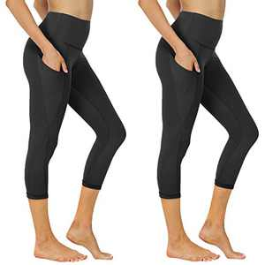 NexiEpoch 2 Pack Capri Yoga Pants for Women - High Waisted Tummy Control Stretch Leggings with Pockets for Workout, Running
