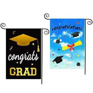 CDLong 2 Pack Congrats Grad Garden Flag Congratulations & Diploma Cap Yard Flag Vertical Double Sided 12.5 x 18 Inch, 2021 Graduation Flag Decor for Indoor Outdoor Graduation Decorations