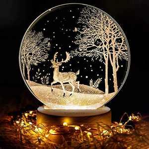 3D Night Light, LED Elk Lights, YueKeCH Night Lights for Kids, Baby Night Light, Bedside Lamp, Adjustable Brightness, 3 Colors, USB Charging, Suitable for Girls,Children Christmas Birthday Gifts