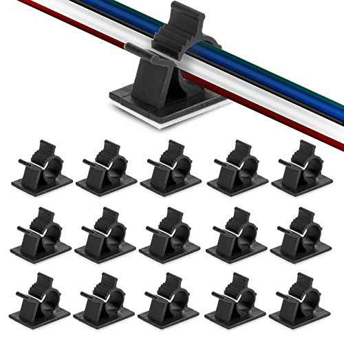 50pcs Cable Clips YOKELLMUX Wire Clips Cable Organizer Self Adhesive Backed Cable Holder Clip Nylon Wire Adjustable Cable Management Clips, Office and Home (Black)