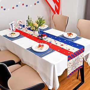LOLStar 4th of July Table Runner for Independence Day Memorial Day Red White Blue Patriotic 4th of July Decorations.American Flag Table Runner for Indoor Outdoor Party Holiday Dining(13x72 inch)