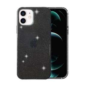 ABenkle Compatible with iPhone 12 and 12 Pro Case, Slim Fit Hybrid Glitter Bling Sparkly Case for Women Shockproof Protective Flexible Bumper Cover for iPhone 12/12 Pro 6.1-Inch 2020, Black Glitter