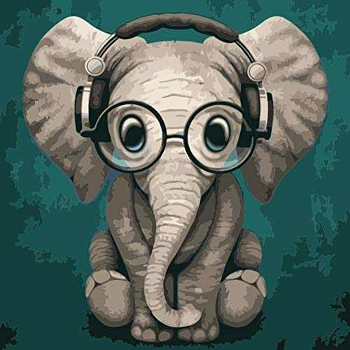 Animal Paint by Numbers for Adults Kids, Music-Loving Baby Elephant Canvas DIY Craft Kits for Women Full Oil Painting Tools Acrylic Pigment Number Accessories, Ideal Gift Hobbies