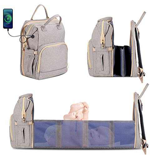 Diaper Bag Backpack with Changing Situation, (Easier to fold Version) Nappy Bag with Folding Crib for Boys Girls, Portable Waterproof Mummy Bag, Travel Bassinet Bag Include Insulated Pocket Gray