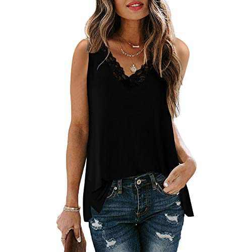 Davenil Women's Causal Loose Sleeveless Blouses Shirts V Neck Lace Trim Tank Tops Plain T Shirts with Side Split Black Size S