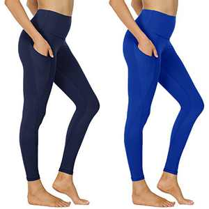 NexiEpoch Yoga Pants for Women - High Waisted Tummy Control Stretch Leggings with Side Pockets for Workout, Running (2 Pack Navy Blue, Royal Blue, Large)