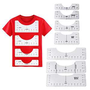 T-Shirt Ruler Guide, 7 Pcs T Shirt Rulers to Center Designs, T Shirt Rulers to Center Vinyl, Tshirt Alignment Tool, T-Shirt Ruler Guide for Feat Press (White)