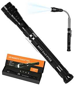 Christmas Gifts for Dad from Daughter Son 'BEST DAD EVER', Magnetic Pickup Tool with LED, Stocking Stuffers Anniversary Birthday Gifts for Men, Telescoping Flashlight Cool Gadgets Tool for Mechanics